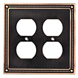 Franklin Brass W35064-VBC-C Classic Beaded Double Duplex Outlet Wall Plate / Switch Plate / Cover, Bronze with Copper Highlights