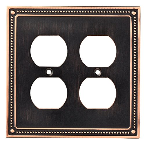Franklin Brass W35064-VBC-C Classic Beaded Double Duplex Outlet Wall Plate / Switch Plate / Cover, Bronze with Copper Highlights (Double Duplex Cover Plate)