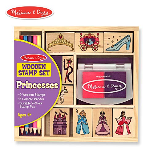 Price comparison product image Melissa & Doug Wooden Princess Stamp Set: 9 Stamps,  5 Colored Pencils,  and 2-Color Stamp Pad