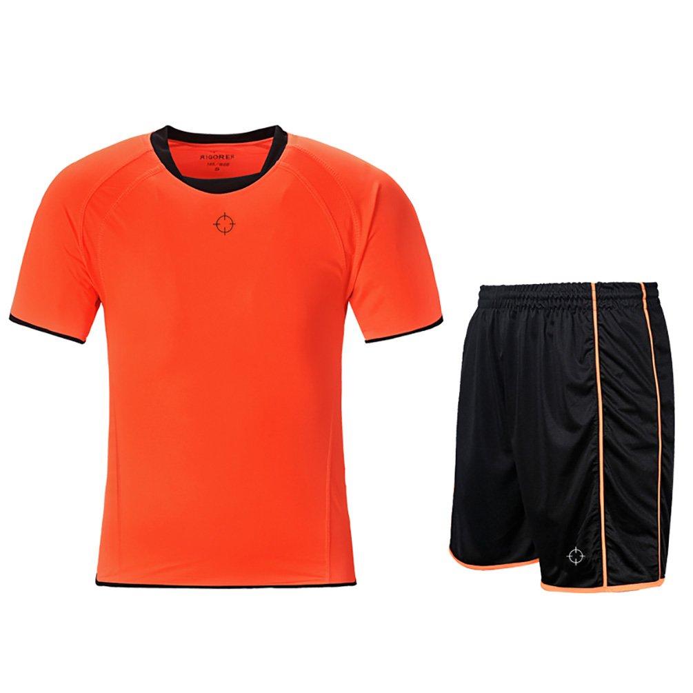 rigorerキッズ男の子女の子サッカージャージーと短パントレーニングジャージーセット半袖Soccer Uniform B0776TYDNB 140|オレンジ/ブラック オレンジ/ブラック 140