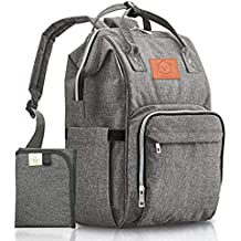Baby Diaper Bag Backpack - Multi-Function Waterproof Travel Baby Bags for Mom, Dad, Men, Women - Large Maternity Nappy Bags for Girls & Boys - Durable, Stylish - Diaper Mat Included (Gray)