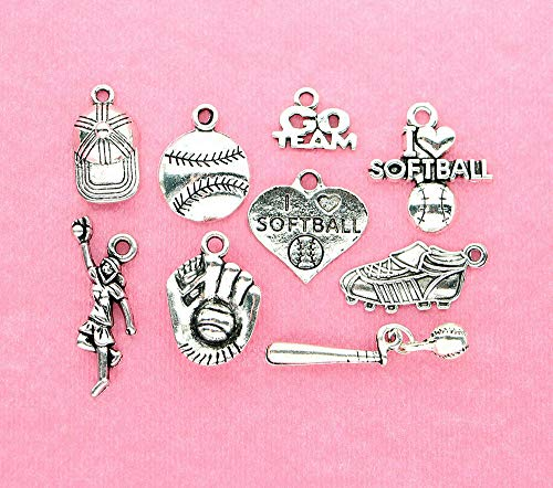 Extensive Collection of Charm Softball Charm Collection Antique Silver Tone 9 Different Charms - COL068 Express Yourself -