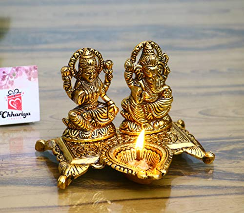 Chhariya Crafts Lakshmi Ganesha with Diya Statue Idol Murti in Metal Decorative Showpiece – 15 cm (Metal, Gold)