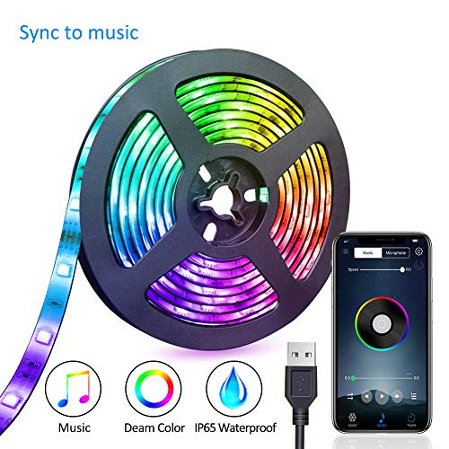 LED Strip Lights USB Powered LED Lights Strip Phone App Controlled RGB LED Lights Chase Effect Music LED Strip Rope Lights Waterproof Color Changing Lights Bluetooth Connect