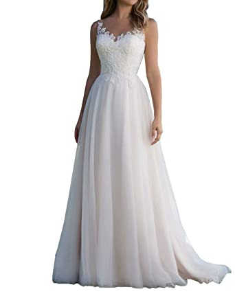 718bd4433024 Image Unavailable. Image not available for. Color: Skynia Women A-line  Floor-Length Tulle Church Wedding Dresses Sexy ...