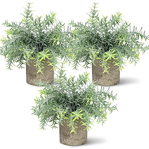 Hopewood 3pcs Artificial Plant Small Fake Desk Potted Faux Plant for Home Farmhouse Office Bathroom Shelf Decor(9.8inch Tall)