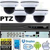 USG Business Grade PTZ 2MP HD-TVI 4 Camera CCTV Kit : 4x 2MP PTZ Auto-Focus Dome Cameras + 1x 8 Channel 3MP DVR + 1x 4TB HDD : Apple Android Phone App : Use Coaxial BNC Cable : True Plug & Play