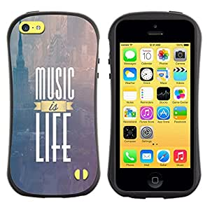 LASTONE PHONE CASE / Suave Silicona Caso Carcasa de Caucho Funda para Apple Iphone 5C / Music Is Life New York Text Purple Fog