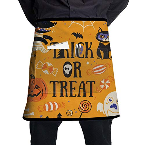 O-X_X-O The Coolest Inexpensive Gift - Happy Halloween Party Patterns Chef Half Apron for Men Women Useful Multi-Functional Pockets Ideal for BBQ Grill Kitchen Or -