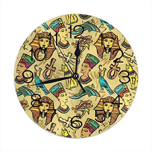 - FEAIYEA Wall Clock Ancient Egypt Pharaoh Nefertiti Cat Decorative Wall Clock Silent Non Ticking - 9.8Inch Round Easy to Read Decorative for Home/Office/School Clock