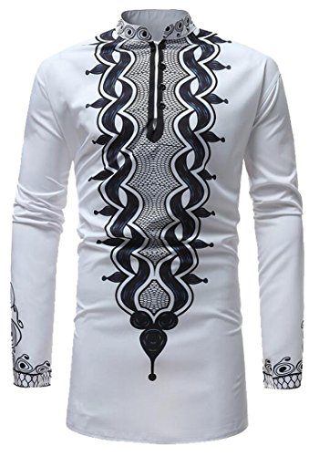 Jofemuho Men's Stand Collar Plus Size African Print Dashiki Long Sleeve Shirt Tee Top White (Print Stand)