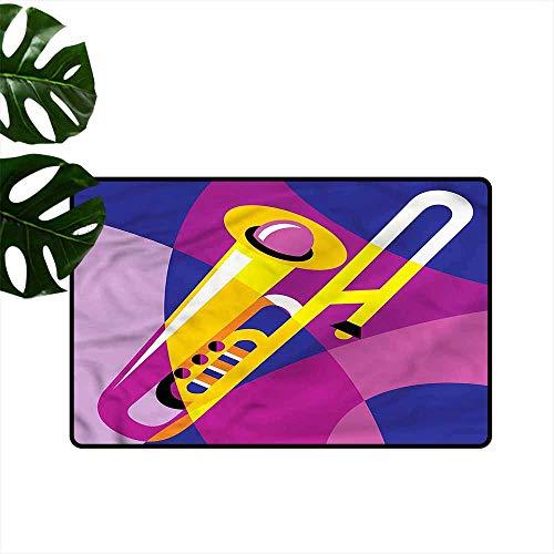 HOMEDD Bath mat,Trombone Pop Art Groovy Jazz Music,All Season Universal,24