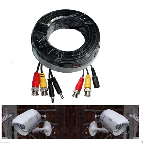 (wennow Black Premium 60ft Power & Video Cable for 2 CCTV Camera use/Zmodo/Qsee (1 Cable for 2 Cameras Use for Corner/2 Different Area))