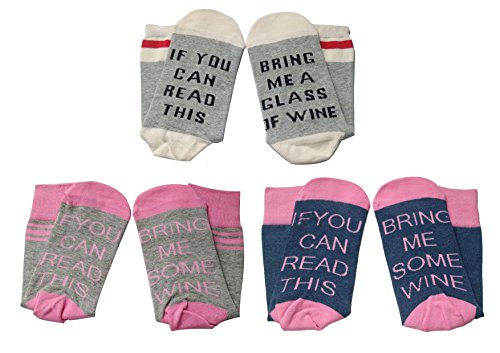 Moyel Women's Cotton Funny Novelty Crew Socks With Saying Bring Me Wine Socks (3 Pack)