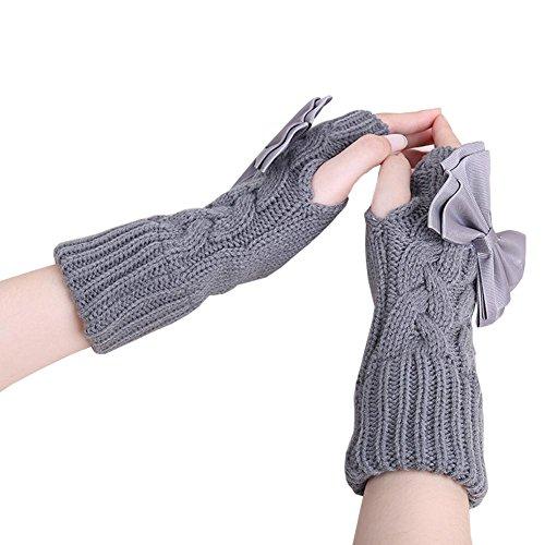 DJHbuy レディース 秋冬 防寒 蝶結び 指なし ニット 手袋 ハンドウォーマー グローブ