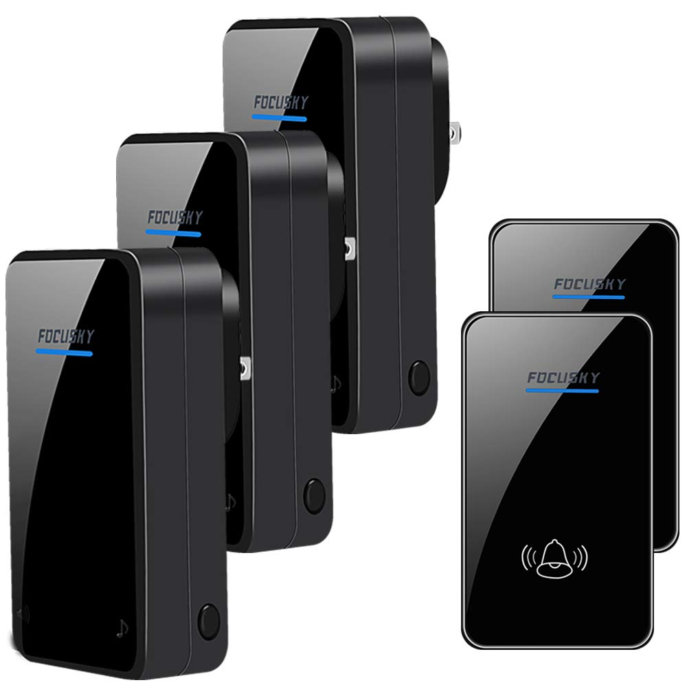 Wireless Doorbell,2 Push Buttons and 3 Plugin Receivers,Door Chime Kit with 1000 Feet Long Range,6 Volume Levels and 48 Ringtones,No Battery Required for Receiver(Black)