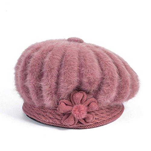 paste bean YANXH femenino gorros red Capa paste bean sombrero En de del el la mamá invierno bordados red mayor gorros U7HUqw