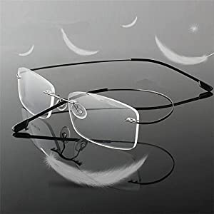 Men Women Eyeglass Frame Rimless Reading Glasses Business Glasses Temple-flexible Optical Frame Spectacles Portable Crystal Lenses Clear Vision Eye Glasses Compact Magnifier Eyewear Silver +2.50