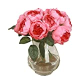 Hot Sale!1Bouquet/6Heads Artificial Silk Peony,Canserin DIY Fake Flower For Bridal Hydrangea Garden Decor (Hot Pink)