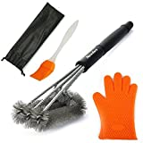 Newdora Grill Brush Cleaner Barbecue Cleaner Brush BBQ 3 in 1 Stainless Steel Grill Cleaner 18 Inch Barbecue Grill Cleaning Brush with Free Basting Brush and BBQ Oven Mitts Gloves