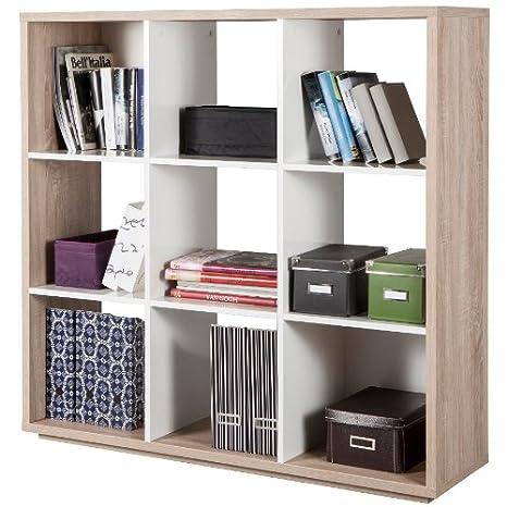 Composad Libreria a nove vani color rovere chiaro e bianco laccato ...