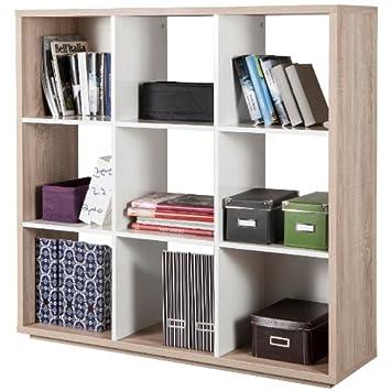 Libreria a nove vani color rovere chiaro e bianco laccato lucido ...