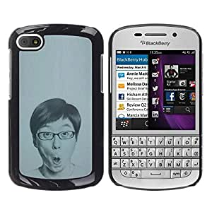 Be Good Phone Accessory // Dura Cáscara cubierta Protectora Caso Carcasa Funda de Protección para BlackBerry Q10 // Portrait Man Glasses Drawing