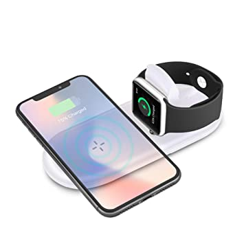 Cargador Inalámbrico Rápido , Sararoom Wireless Charger para iPhone X / 8/8 Plus, Apple Watch Serie 2 / 3 , Base de carga plegable 7.5 W / 10 W para ...