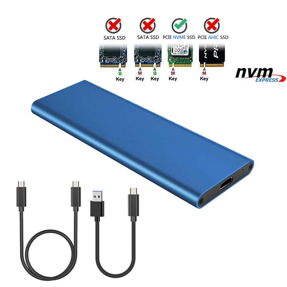 NVME PCI-E Enclosure M.2 NVME to USB3.1 Type-C GEN2 10GBPS Enclosure M.2 PCI-E SSD Hard Disk External Box M.2 M-Key SSD to USB-C Adapter Fit for Samsung 970 EVO/PRO/WD Black NVME with Two Cable (Blue)