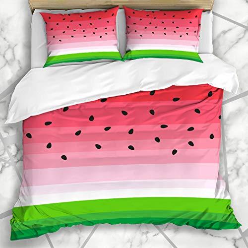 Ahawoso Duvet Cover Sets King 90x104 Pulp Pink Pattern Watermelon Black Seeds Abstract Child Summer Green Fun Girl Melon Cute Kid Minimal Microfiber Bedding with 2 Pillow Shams