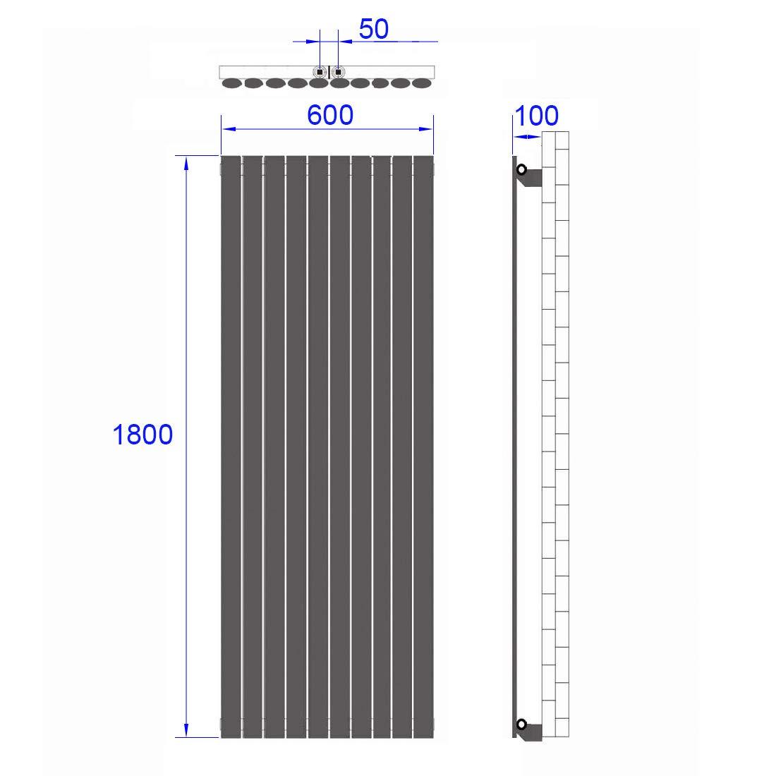 Heizk/örper Design-Heizk/örper Wei/ß Vertikal 1800x480mm Heizung Mittelanschluss Doppellagig 1814W