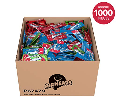 (Airheads Candy Bulk Box, Individually Wrapped Mini Bars, Assorted Flavors, Non Melting, Party, 25)