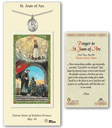 Arc Necklace - Pewter St. Saint Joan of Arc Medal Pendant Necklace on an 18in Stainless Silver Lite Curb Chain with a Prayer to St Joan of Arc Prayer Card