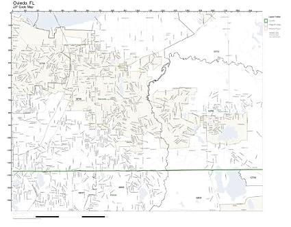 Oviedo Florida Map.Amazon Com Zip Code Wall Map Of Oviedo Fl Zip Code Map Laminated