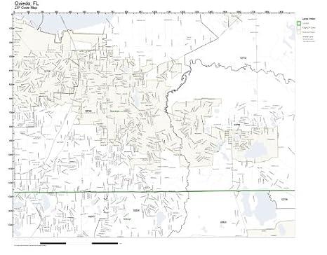 Oviedo Florida Map.Amazon Com Zip Code Wall Map Of Oviedo Fl Zip Code Map Not