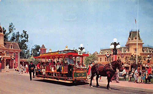 Postcard Main Street Horse Pulled Trolley Disneyland, Anaheim, - Anaheim Map California Disneyland