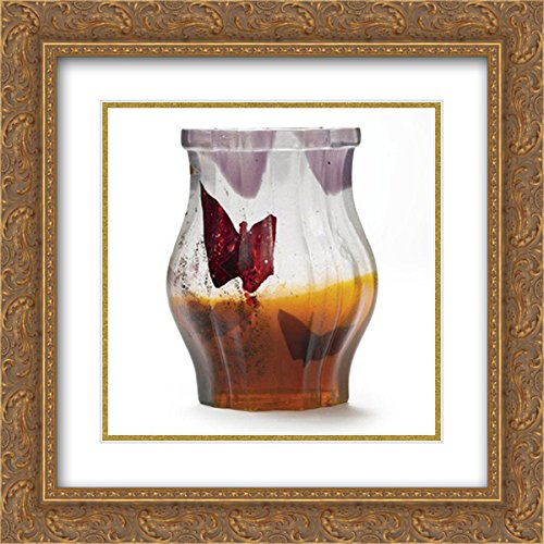 Papillon Vase (Emile Galle 2x Matted 20x20 Gold Ornate Framed Art Print 'Papillon Verre Parlant Vase')