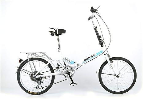 XINGXINGNS Bicicleta 20 Pulgadas Marco de Acero de Alto Carbono Plegable Plegable Bicicleta de Montaña Todoterreno para Hombres y Mujeres,Blanco: Amazon.es: Deportes y aire libre