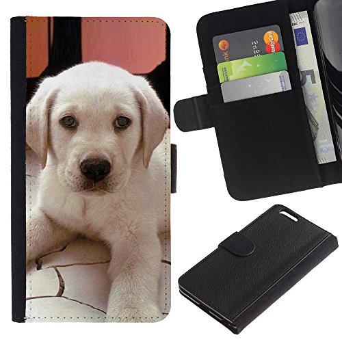 Billetera de Cuero Caso Titular de la tarjeta Carcasa Funda para Apple Iphone 6 PLUS 5.5 / Labrador Small Puppy Dog Canine / STRONG