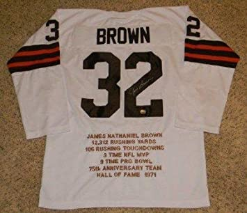 23acd309 ... cleveland browns australia jim brown signed jersey 32 white throwback  stat mm autographed nfl jerseys 8adc5 61106 denmark mens mitchell and ness  ...
