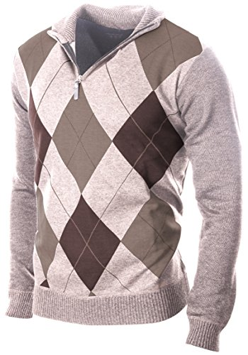 Enimay Men's Fashion Business Casual Long Sleeve Half Zip Argyle Pull Over Classic Beige Argyle Large