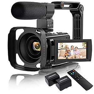 "Flashandfocus.com 51lj3J%2BxKSL._SS300_ Video Camera Camcorder, VAFOTON 1080P 30FPS 24MP 2021 New Upgraded Vlogging Camera for YouTube 16X Digital Zoom 3.0"" 270° Rotation Screen Vlog Camera with Microphone Stabilizer Remote Control"