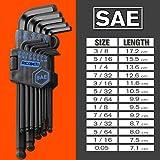 REXBETI Hex Key Allen Wrench Set, SAE Metric Long