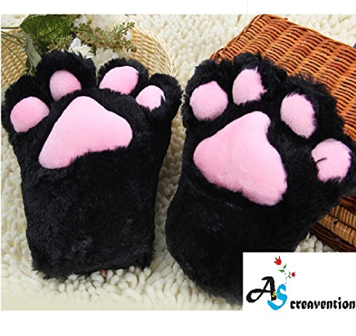 [A&S Creavention Women Cat Bear Claw Paw Mitten Plush Glove Costume (Black)] (White Cat Costume For Women)