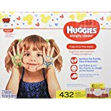 HUGGIES SIMPLY CLEAN Fragrance-Free Baby Wipes, Hypoallergenic (6X Refill Packs, 432 Count)