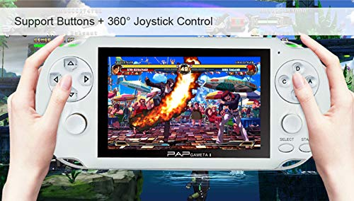 """Handheld Game Console , 650 Classic Games 4.3"""" 64 Bit Portable Game Console PAP-GametaII Support GBA / GBC / SEGA / NES / SFC / NEOGEO -White"""
