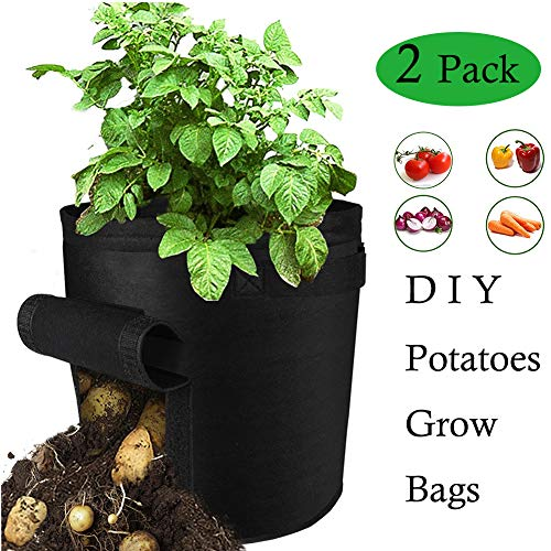 (HOISTAC Potatoe Grow Bags,Potato Growing Kit/Plant Container, Premium Breathable Nonwoven Cloth Sweet Potato Growing Bucket with Flap and Handles for Potato/Carrot and More (2 Pack))