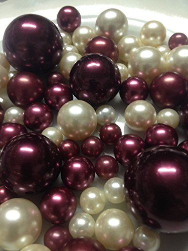 Vase Filler Pearls For Floating Pearl Centerpieces, 80 Burgundy & Ivory Pearls Jumbo & Mix Size Pearls, (Transparent Gel Beads Required To Create Floating Pearls Sold separately)