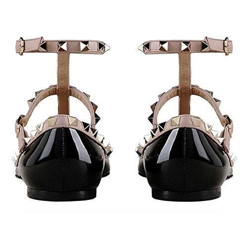 Daily Fashion Ballet Flats Buckles with Double Rivets Sexy Rockstud Patent Pointed Women's black Shoes MERUMOTE Toe zwHX4x