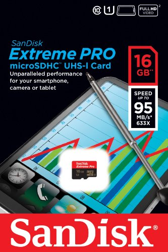 SanDisk Extreme Pro 16 GB microSDHC Class 10 UHS-I 95MB/s Memory Card, Retail Packaging (SDSDQXP-016G-X46)